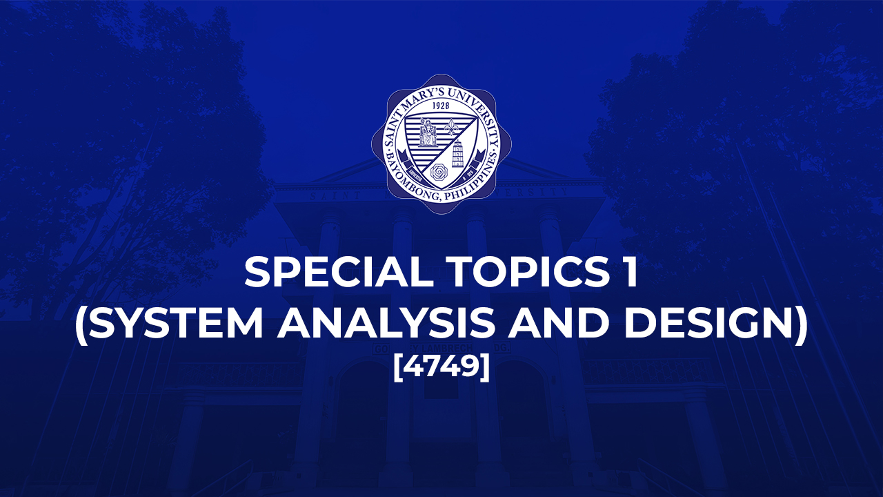 Special Topics 1 (System Analysis and Design)